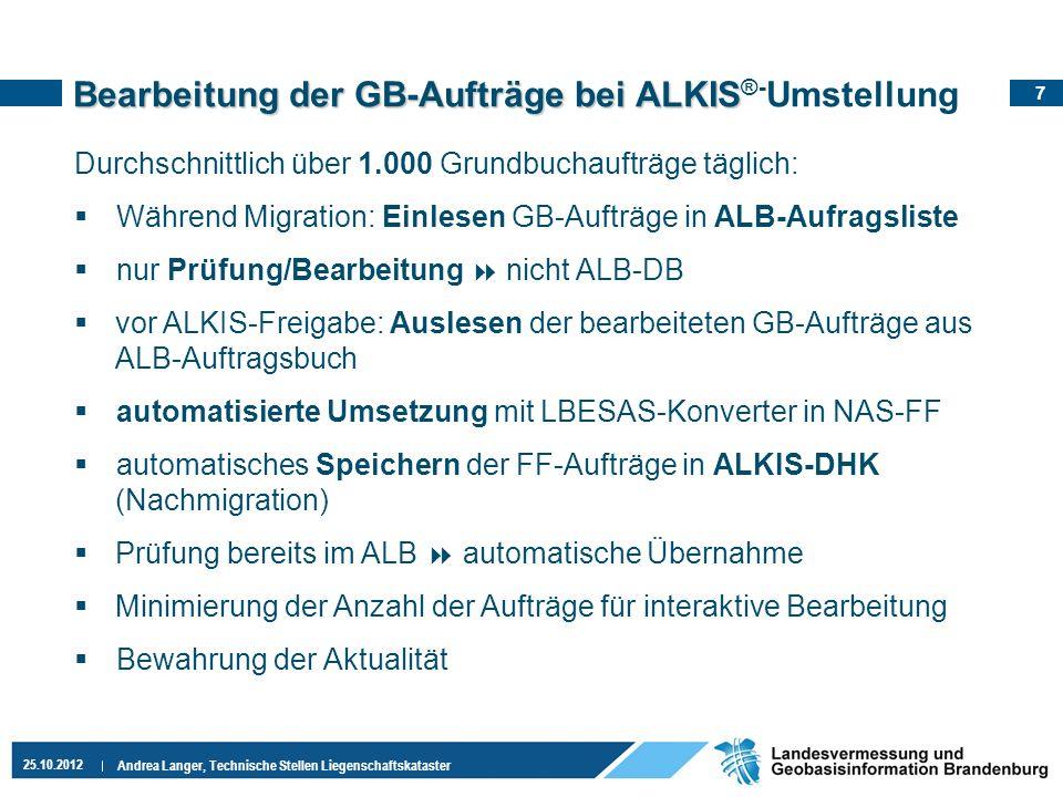 7 25.10.2012 Andrea Langer, Technische Stellen Liegenschaftskataster Bearbeitung der GB-Aufträge bei ALKIS Bearbeitung der GB-Aufträge bei ALKIS ®- Um