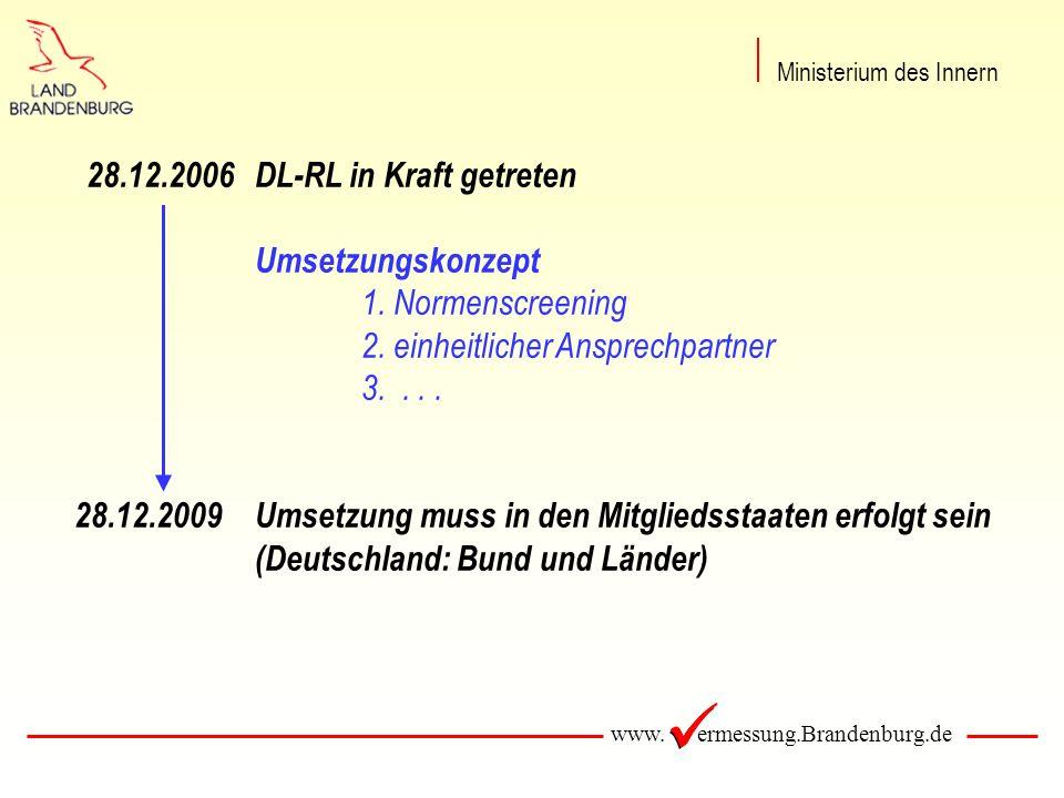 www. ermessung.Brandenburg.de 28.12.2006DL-RL in Kraft getreten Umsetzungskonzept 1.