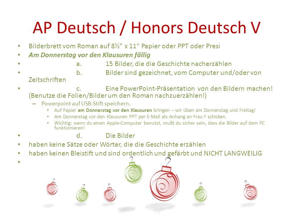 AP Deutsch / Honors Deutsch V Bilderbrett vom Roman auf 8½ x 11 Papier oder PPT oder Presi Am Donnerstag vor den Klausuren fällig a. 15 Bilder, die di