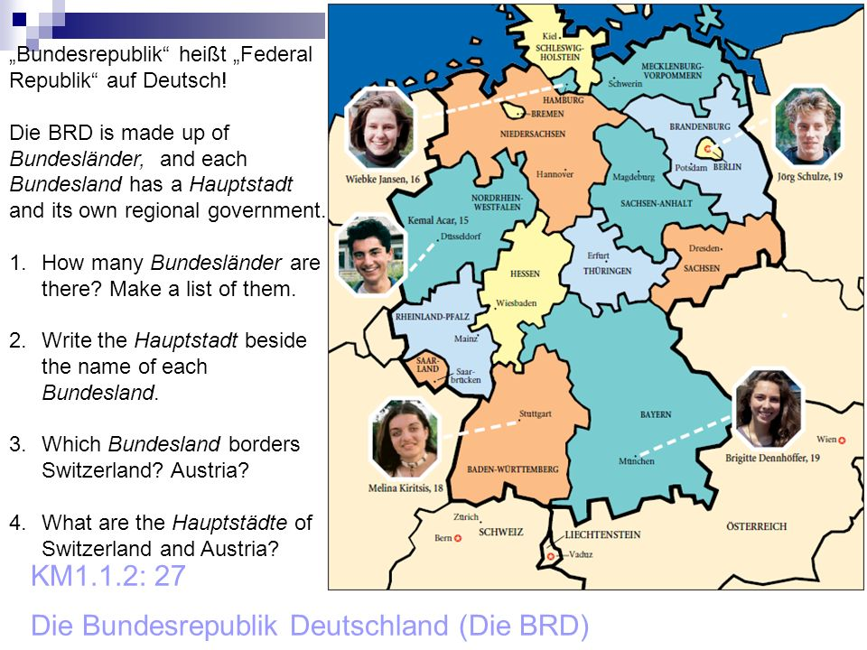 KM1.1.2: 27 Die Bundesrepublik Deutschland (Die BRD) Bundesrepublik heißt Federal Republik auf Deutsch! Die BRD is made up of Bundesländer, and each B