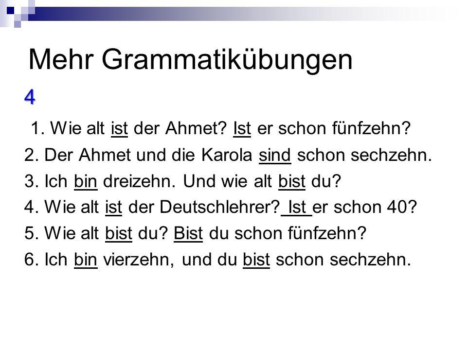 Mehr Grammatikübungen 4 1.Wie alt ist der Ahmet. Ist er schon fünfzehn.