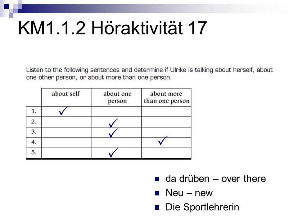 KM1.1.2 Zusätzliche Höraktivität 2 Helmut Jochen Julia Silvia 14 15 13 14