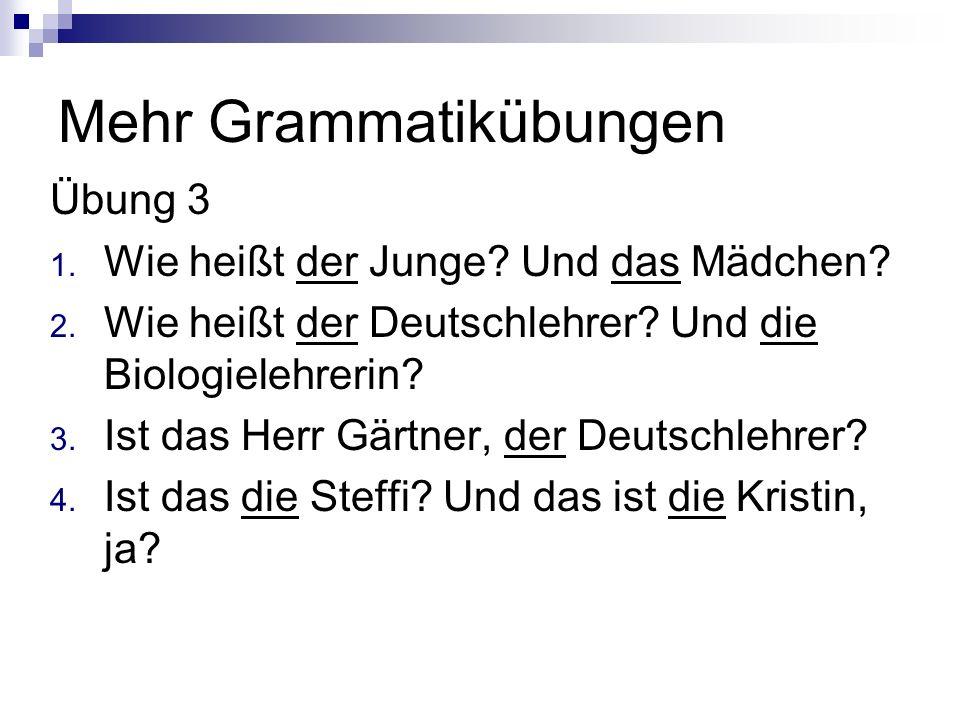 Mehr Grammatikübungen Übung 3 1. Wie heißt der Junge? Und das Mädchen? 2. Wie heißt der Deutschlehrer? Und die Biologielehrerin? 3. Ist das Herr Gärtn