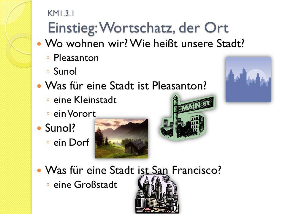 KM1.3.1 Einstieg: Wortschatz, der Ort Wo wohnen wir.