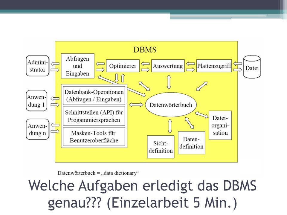 Welche Aufgaben erledigt das DBMS genau??? (Einzelarbeit 5 Min.)