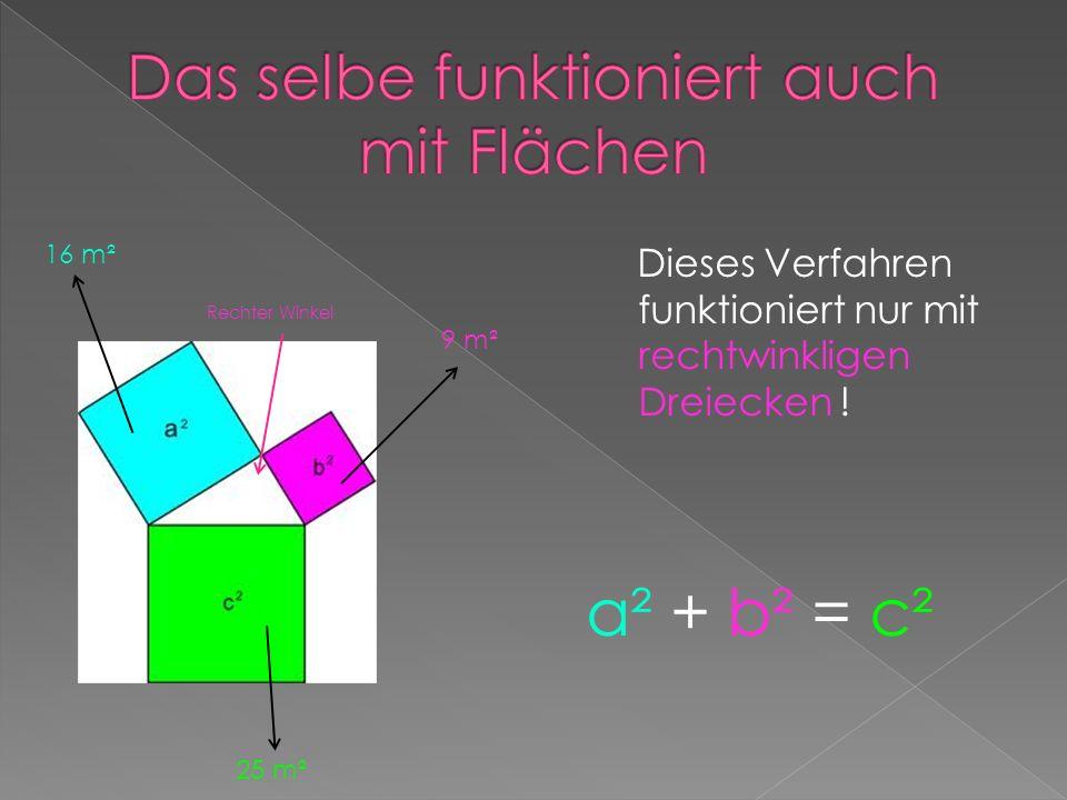 Dieses Verfahren funktioniert nur mit rechtwinkligen Dreiecken ! 16 m² Rechter Winkel 9 m² 25 m² a² + b² = c²
