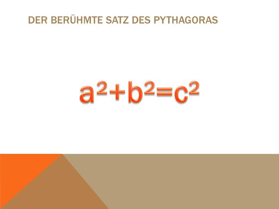 DER BERÜHMTE SATZ DES PYTHAGORAS