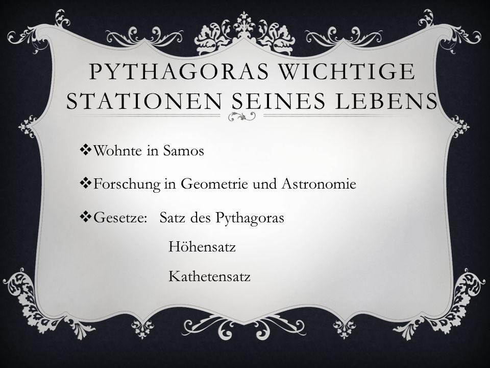 PYTHAGORAS WICHTIGE STATIONEN SEINES LEBENS Wohnte in Samos Forschung in Geometrie und Astronomie Gesetze: Satz des Pythagoras Höhensatz Kathetensatz