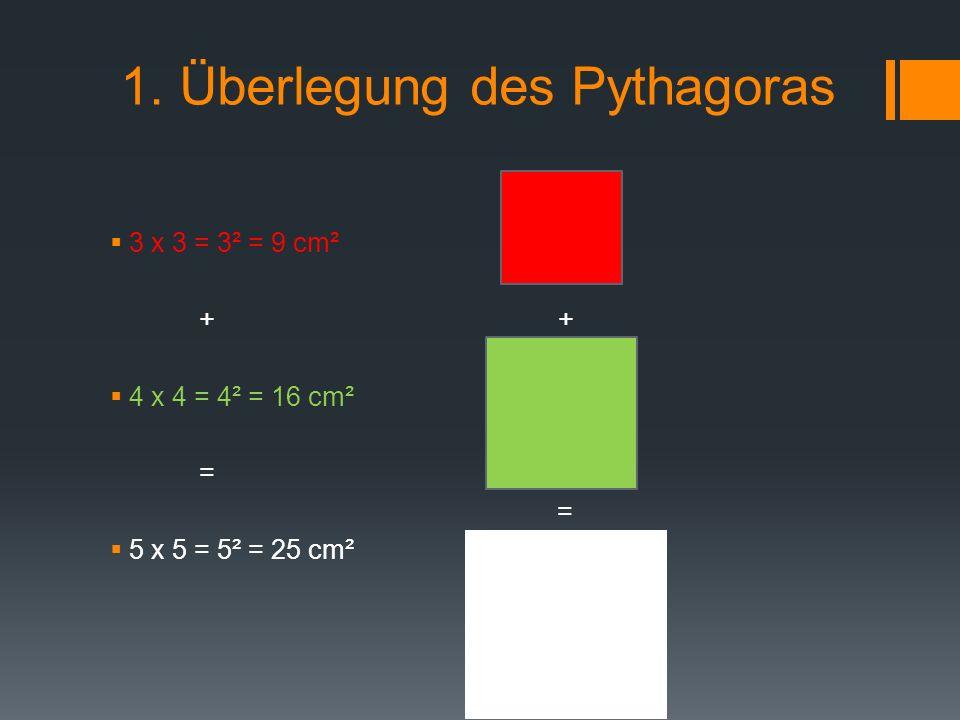 2. Überlegung des Pythagoras a² + b² = c² Kathete Hypotenuse