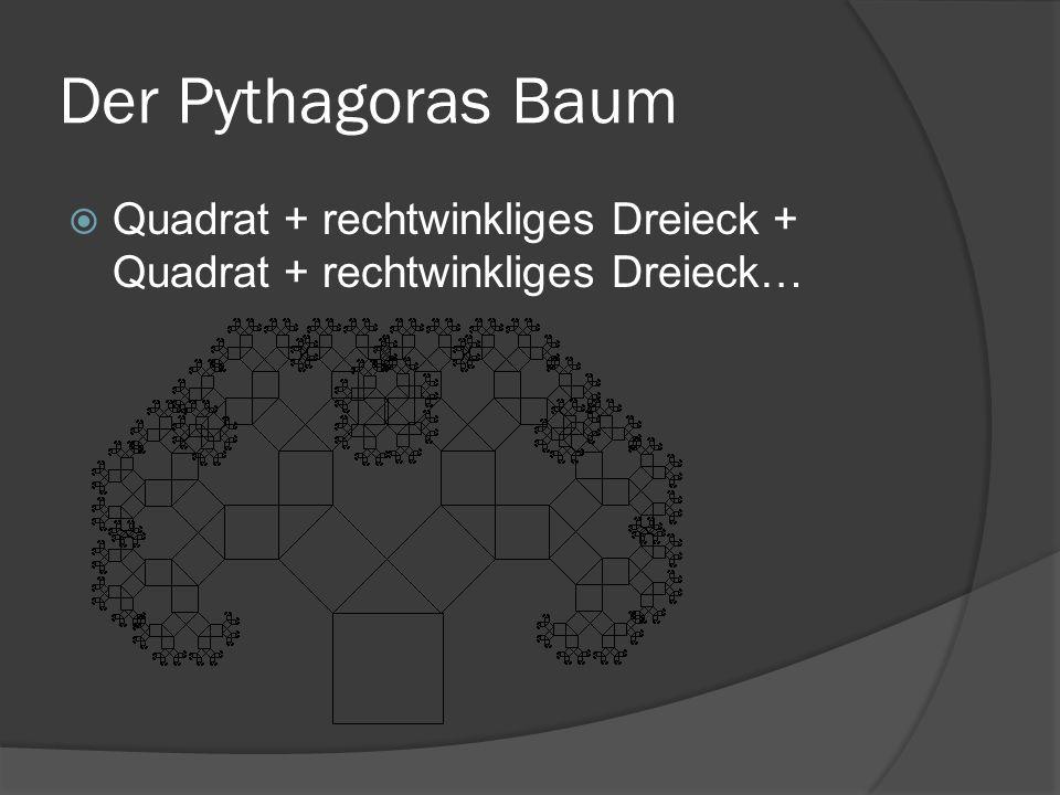 Der Pythagoras Baum Quadrat + rechtwinkliges Dreieck + Quadrat + rechtwinkliges Dreieck…