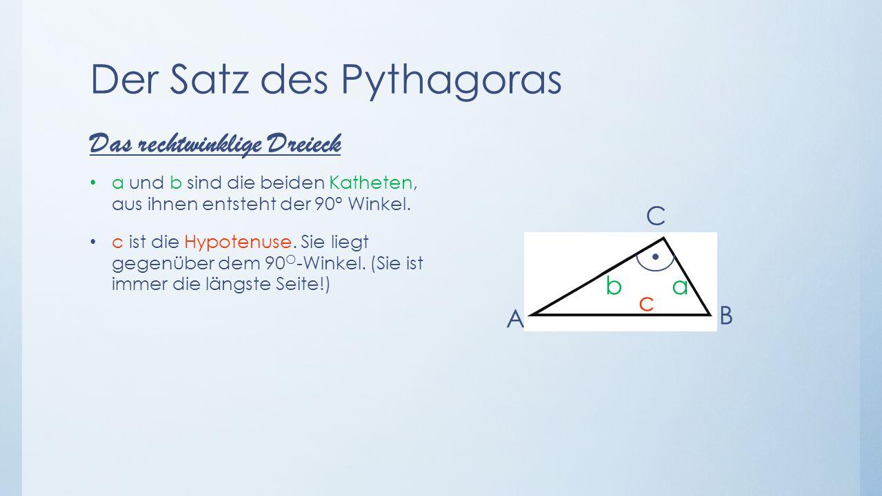 Der Satz des Pythagoras Für den Satz des Pythagoras muss man an jeder Dreiecksseite ein Quadrat konstruieren Die beiden Quadrate auf den Katheten des Dreiecks sind zusammen so groß wie das Quadrat auf der Hypotenus 9 16 25 Beispiel a² + b² = c² 3² + 4² = 5² 9 + 16 = 25 25 = 25