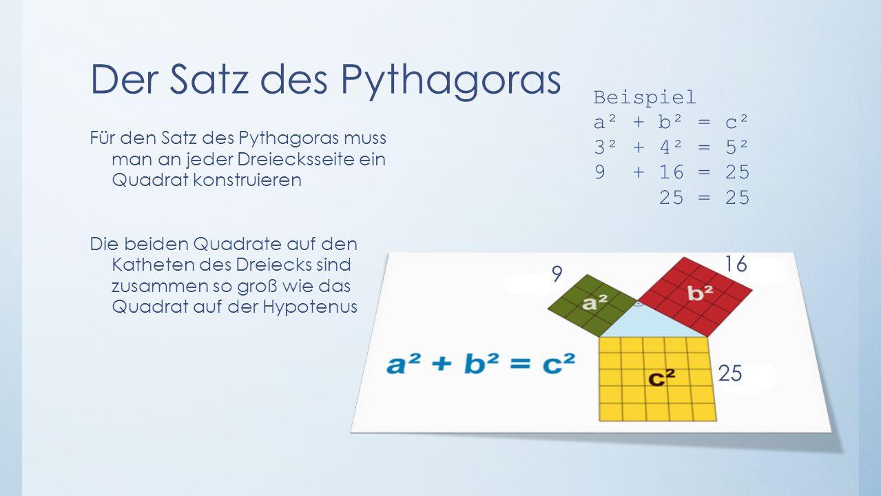Der Satz des Pythagoras Für den Satz des Pythagoras muss man an jeder Dreiecksseite ein Quadrat konstruieren Die beiden Quadrate auf den Katheten des