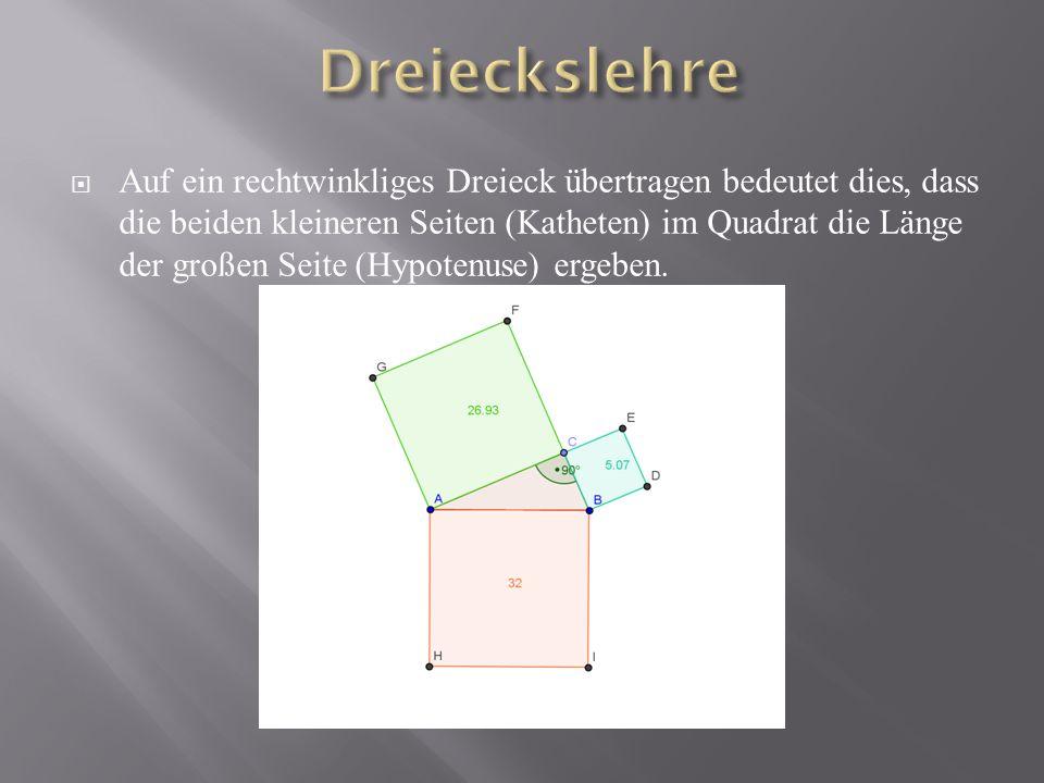 Auf ein rechtwinkliges Dreieck übertragen bedeutet dies, dass die beiden kleineren Seiten (Katheten) im Quadrat die Länge der großen Seite (Hypotenuse