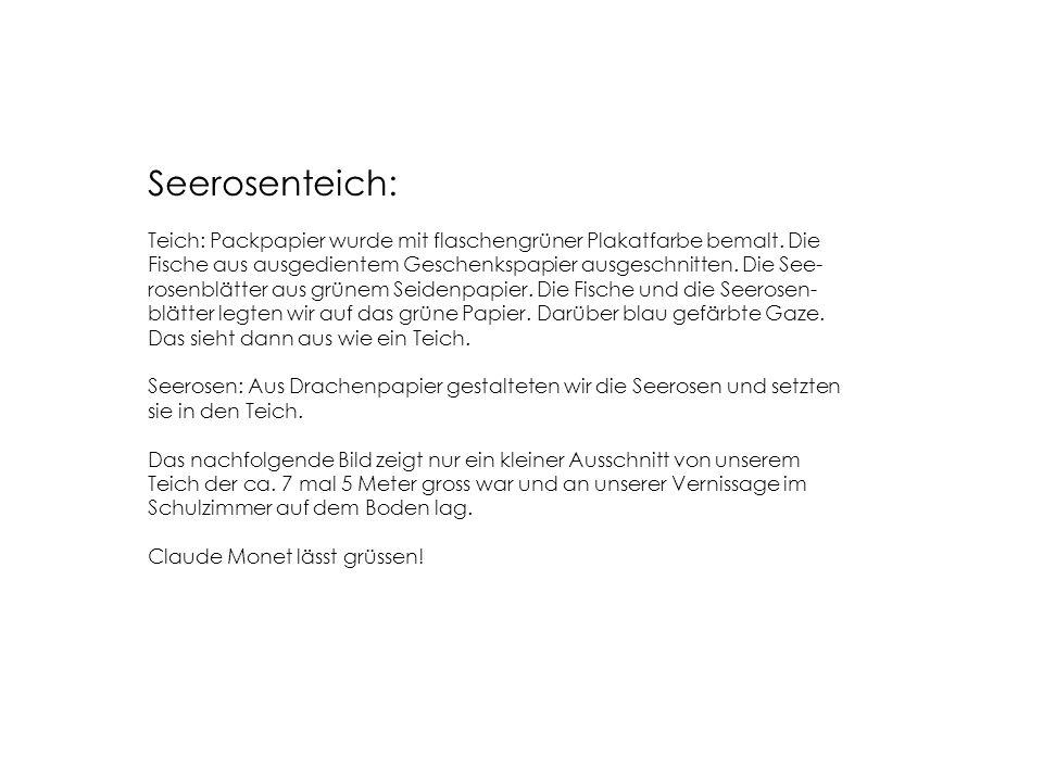 Seerosenteich: Teich: Packpapier wurde mit flaschengrüner Plakatfarbe bemalt.