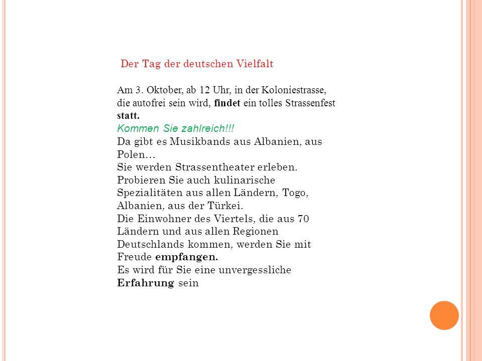 Der Tag der deutschen Vielfalt Am 3.