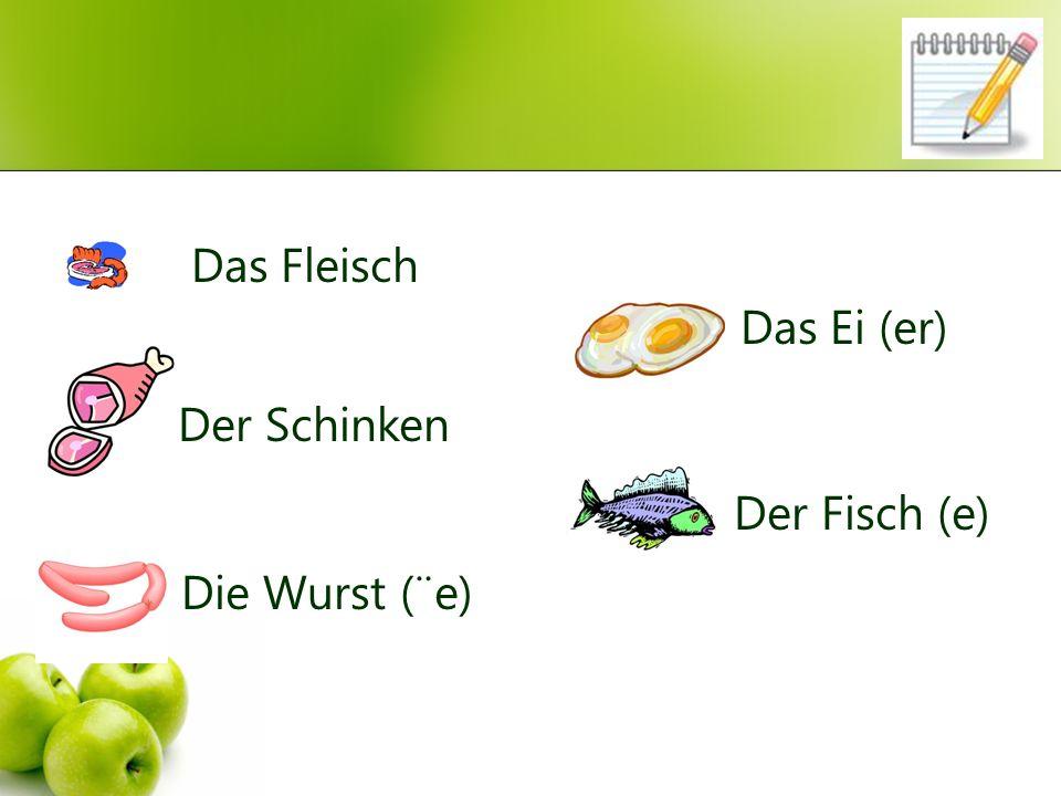 Das Fleisch Der Schinken Die Wurst (¨e) Das Ei (er) Der Fisch (e)