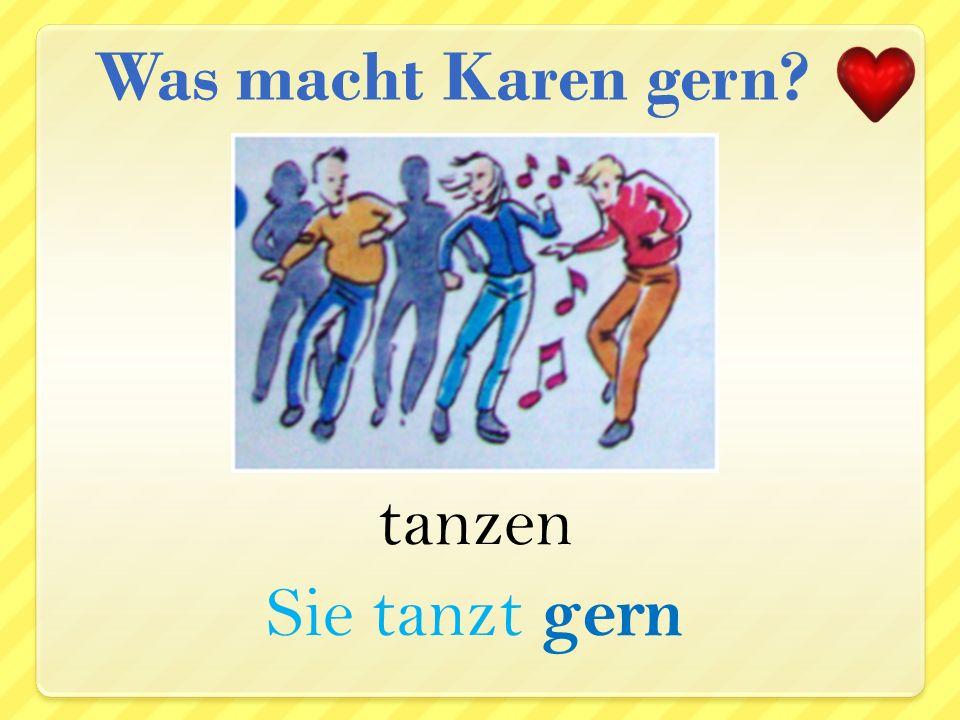 Gitarre spielen Sie spielt gern Gitarre Was macht Karen gern?