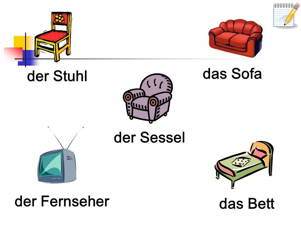 der Stuhl das Sofa der Sessel der Fernseher das Bett