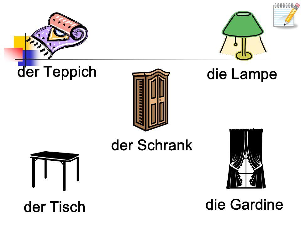 der Teppich die Lampe der Schrank der Tisch die Gardine