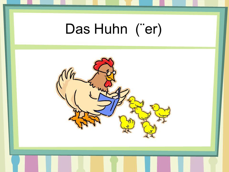 Das Schaf (e)Das Schwein (e) Das Huhn (¨er)Der Hase (n)