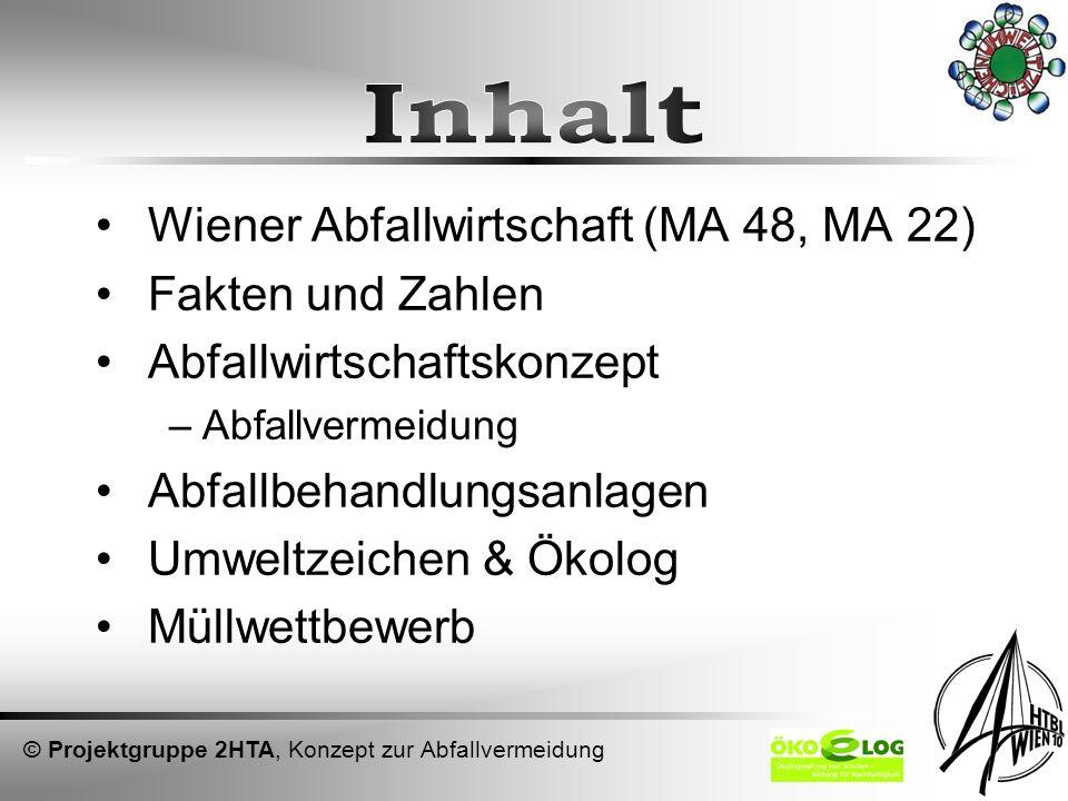 Wiener Abfallwirtschaft (MA 48, MA 22) Fakten und Zahlen Abfallwirtschaftskonzept –Abfallvermeidung Abfallbehandlungsanlagen Umweltzeichen & Ökolog Mü