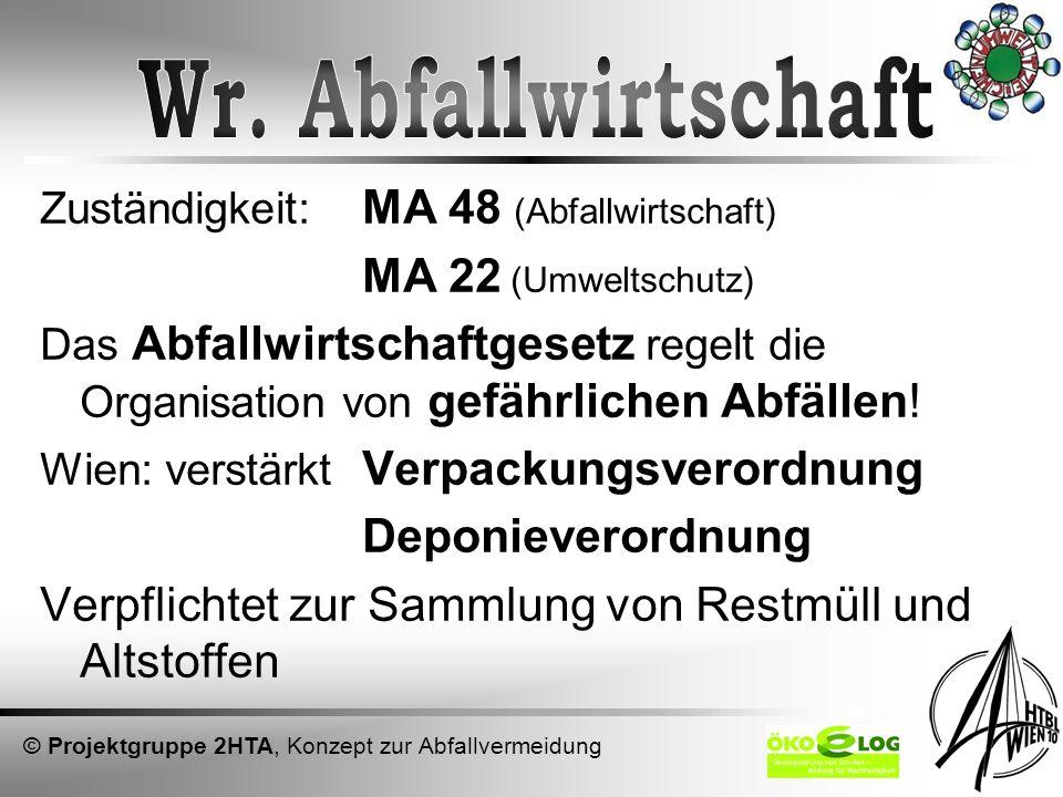 Zuständigkeit: MA 48 (Abfallwirtschaft) MA 22 (Umweltschutz) Das Abfallwirtschaftgesetz regelt die Organisation von gefährlichen Abfällen! Wien: verst