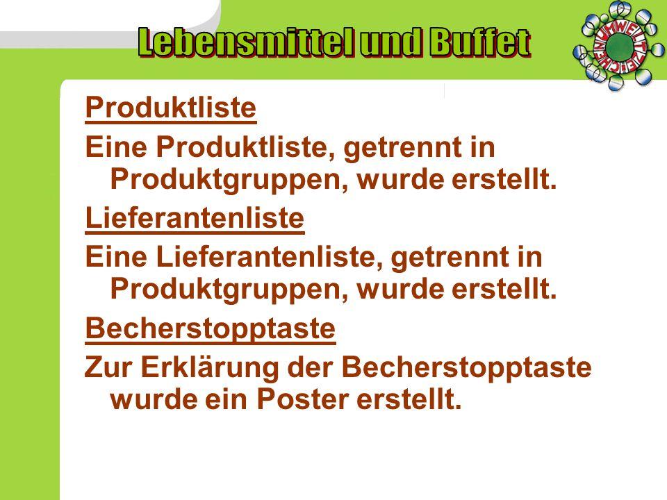 Wasserverbrauch pro Kopf Der pro Kopf-Verbrauch liegt heuer bei 12 Litern/Schüler u.