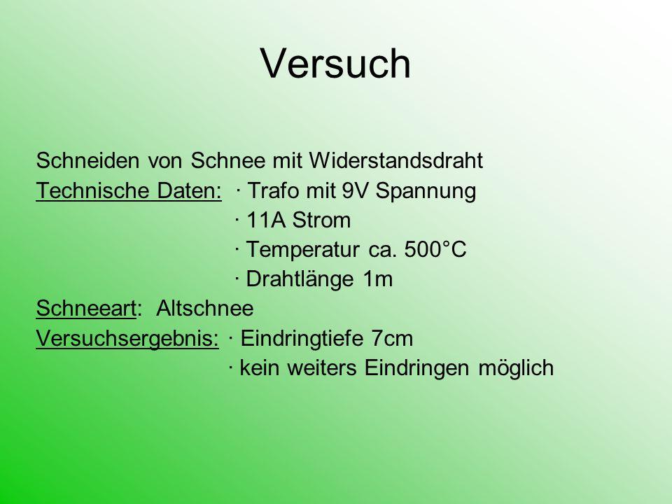 Versuch Schneiden von Schnee mit Widerstandsdraht Technische Daten: Trafo mit 9V Spannung 11A Strom Temperatur ca. 500°C Drahtlänge 1m Schneeart: Alts