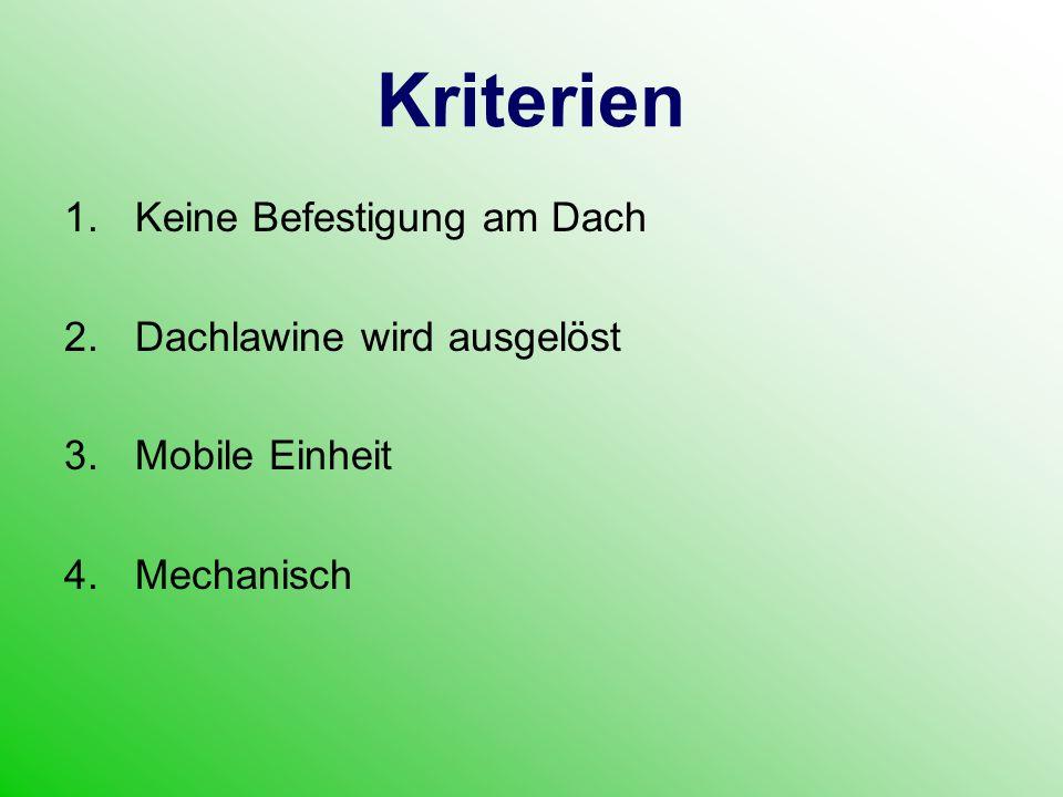 Kriterien 1.Keine Befestigung am Dach 2.Dachlawine wird ausgelöst 3.Mobile Einheit 4.Mechanisch