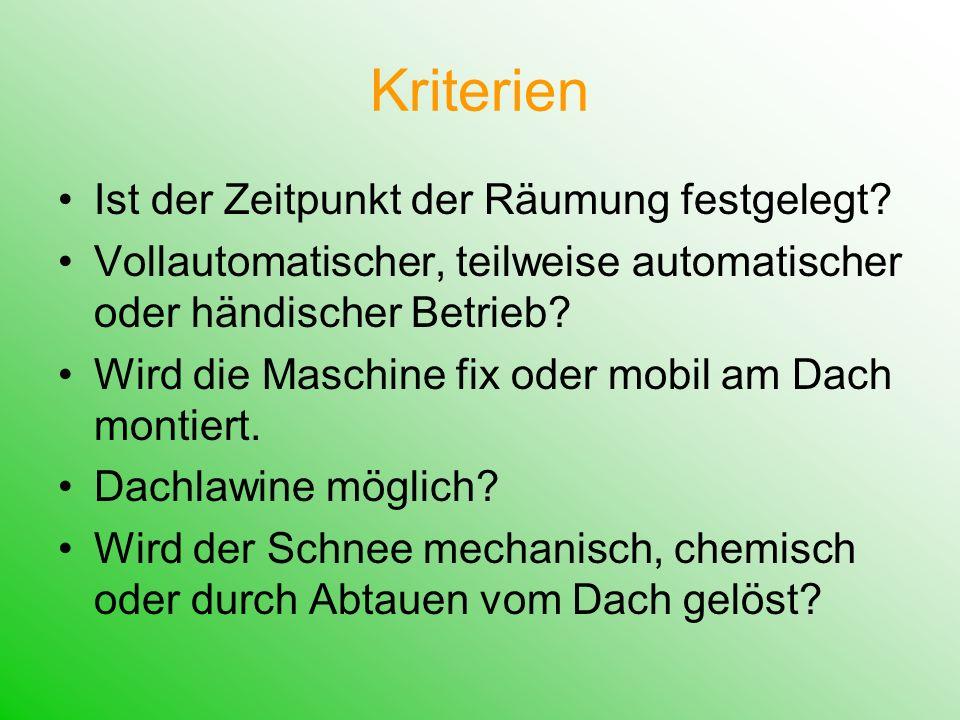 1,234 Dachbefestigung Automatisierungsgrad Mobilität Dachlawine keine teilweise / händisch ja bei Bedarf händisch bei Bedarf ja fix voll nein
