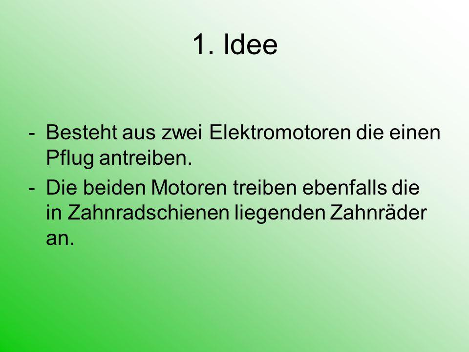 1. Idee -Besteht aus zwei Elektromotoren die einen Pflug antreiben. -Die beiden Motoren treiben ebenfalls die in Zahnradschienen liegenden Zahnräder a