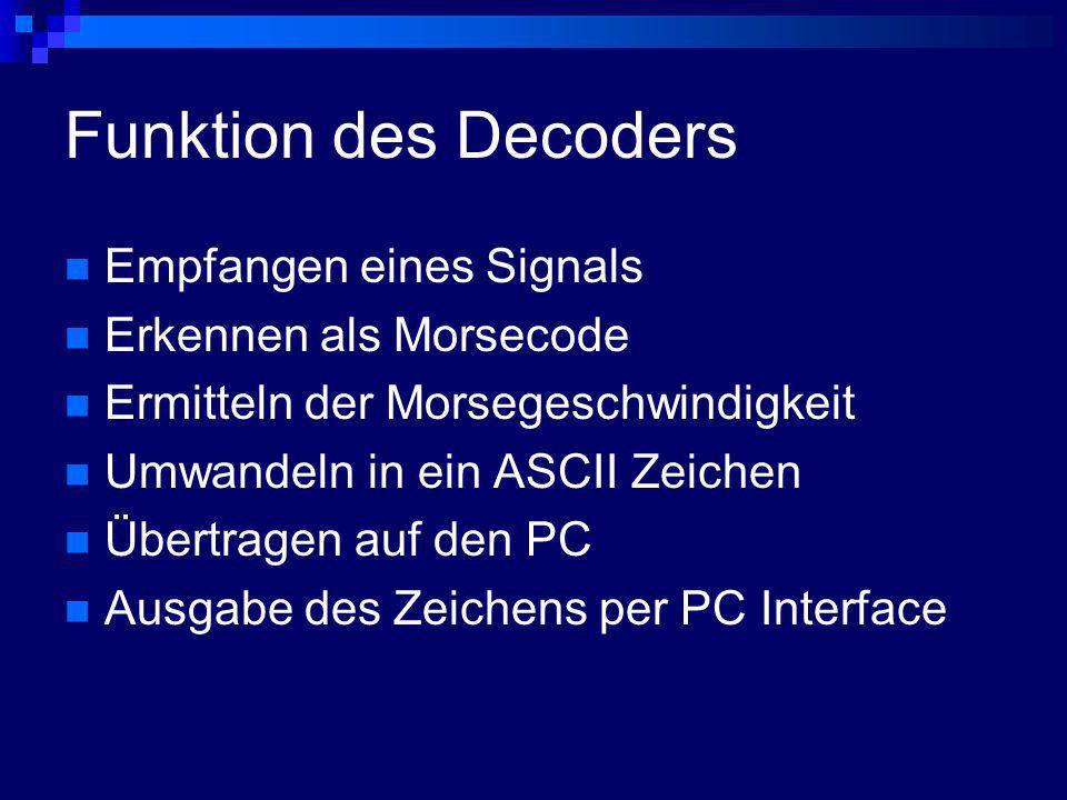 Funktion des Decoders Empfangen eines Signals Erkennen als Morsecode Ermitteln der Morsegeschwindigkeit Umwandeln in ein ASCII Zeichen Übertragen auf