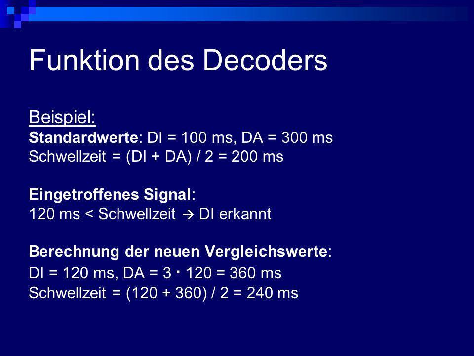 Funktion des Decoders Beispiel: Standardwerte: DI = 100 ms, DA = 300 ms Schwellzeit = (DI + DA) / 2 = 200 ms Eingetroffenes Signal: 120 ms < Schwellze
