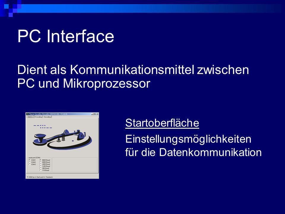 PC Interface Dient als Kommunikationsmittel zwischen PC und Mikroprozessor Startoberfläche Einstellungsmöglichkeiten für die Datenkommunikation