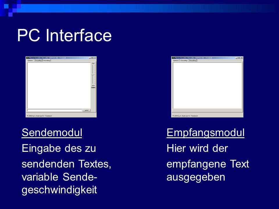 PC Interface Empfangsmodul Hier wird der empfangene Text ausgegeben Sendemodul Eingabe des zu sendenden Textes, variable Sende- geschwindigkeit