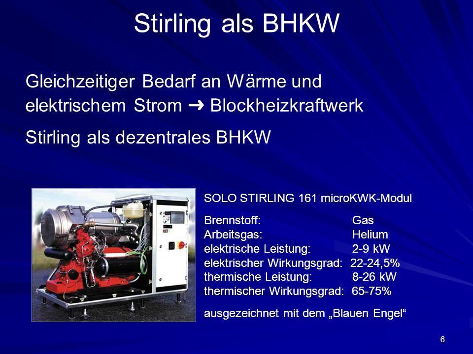 6 Stirling als BHKW Gleichzeitiger Bedarf an Wärme und elektrischem Strom Blockheizkraftwerk Stirling als dezentrales BHKW SOLO STIRLING 161 microKWK-