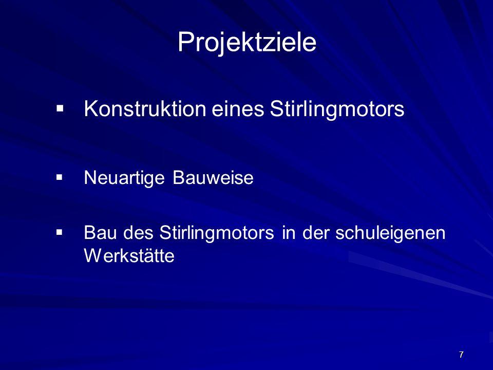 7 Projektziele Konstruktion eines Stirlingmotors Neuartige Bauweise Bau des Stirlingmotors in der schuleigenen Werkstätte