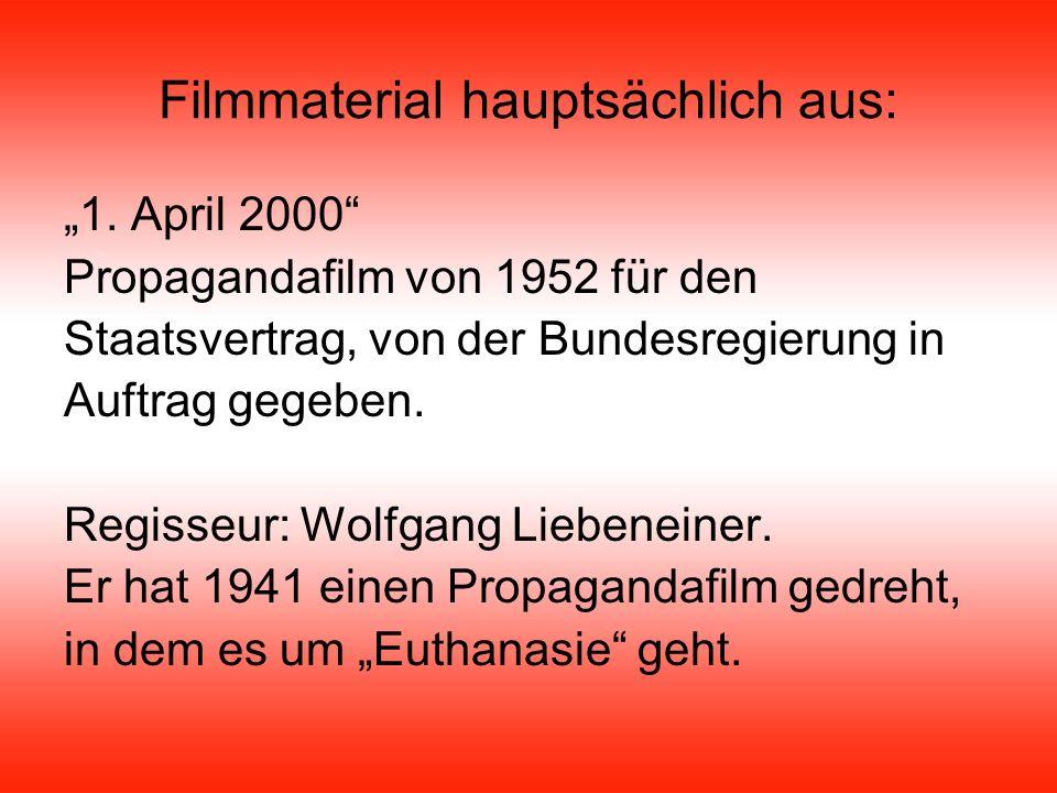 Filmmaterial: Der Herr Karl Einzelne kurze Sequenzen aus diversen Dokumentarfilmen (z.B.: Die Wahlkämpfer, Glaubt an dieses Österreich, etc.)