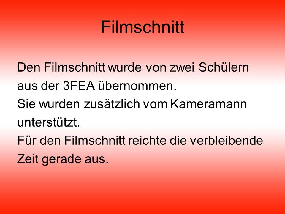 Filmschnitt Den Filmschnitt wurde von zwei Schülern aus der 3FEA übernommen.