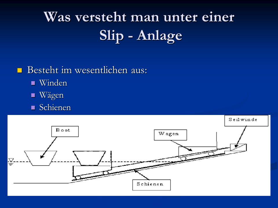 Was versteht man unter einer Slip - Anlage Besteht im wesentlichen aus: Besteht im wesentlichen aus: Winden Winden Wägen Wägen Schienen Schienen