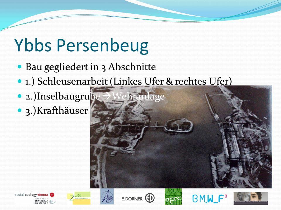 Ybbs Persenbeug Bau gegliedert in 3 Abschnitte 1.) Schleusenarbeit (Linkes Ufer & rechtes Ufer) 2.)Inselbaugrube Wehranlage 3.)Krafthäuser