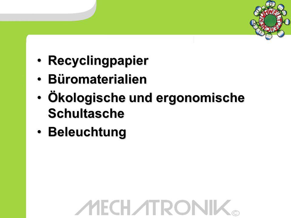 RecyclingpapierRecyclingpapier BüromaterialienBüromaterialien Ökologische und ergonomische SchultascheÖkologische und ergonomische Schultasche Beleuch