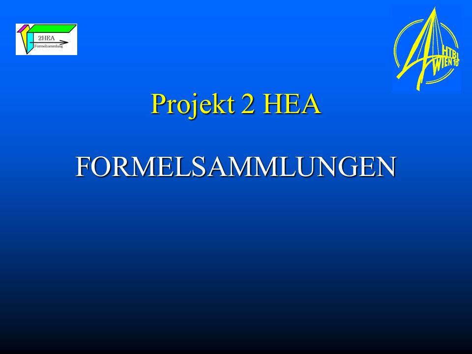 Projekt 2 HEA FORMELSAMMLUNGEN