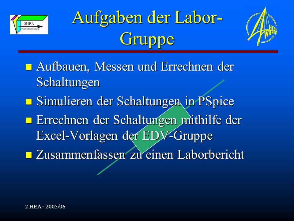 2 HEA - 2005/06 Aufgaben der Labor- Gruppe Aufbauen, Messen und Errechnen der Schaltungen Aufbauen, Messen und Errechnen der Schaltungen Simulieren de