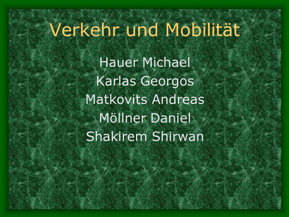 Verkehr und Mobilität Hauer Michael Karlas Georgos Matkovits Andreas Möllner Daniel Shakirem Shirwan