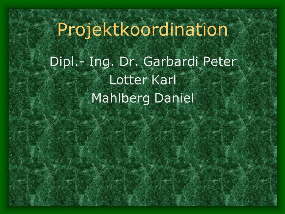 Projektkoordination Dipl.- Ing. Dr. Garbardi Peter Lotter Karl Mahlberg Daniel