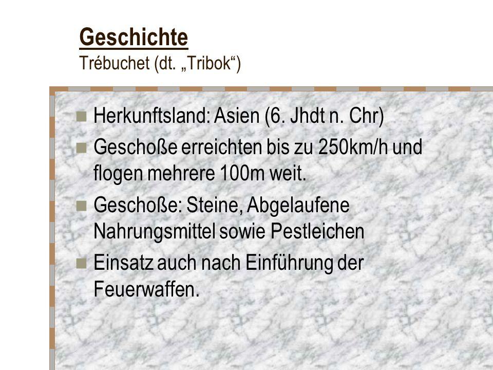 Geschichte Trébuchet (dt. Tribok) Herkunftsland: Asien (6. Jhdt n. Chr) Geschoße erreichten bis zu 250km/h und flogen mehrere 100m weit. Geschoße: Ste