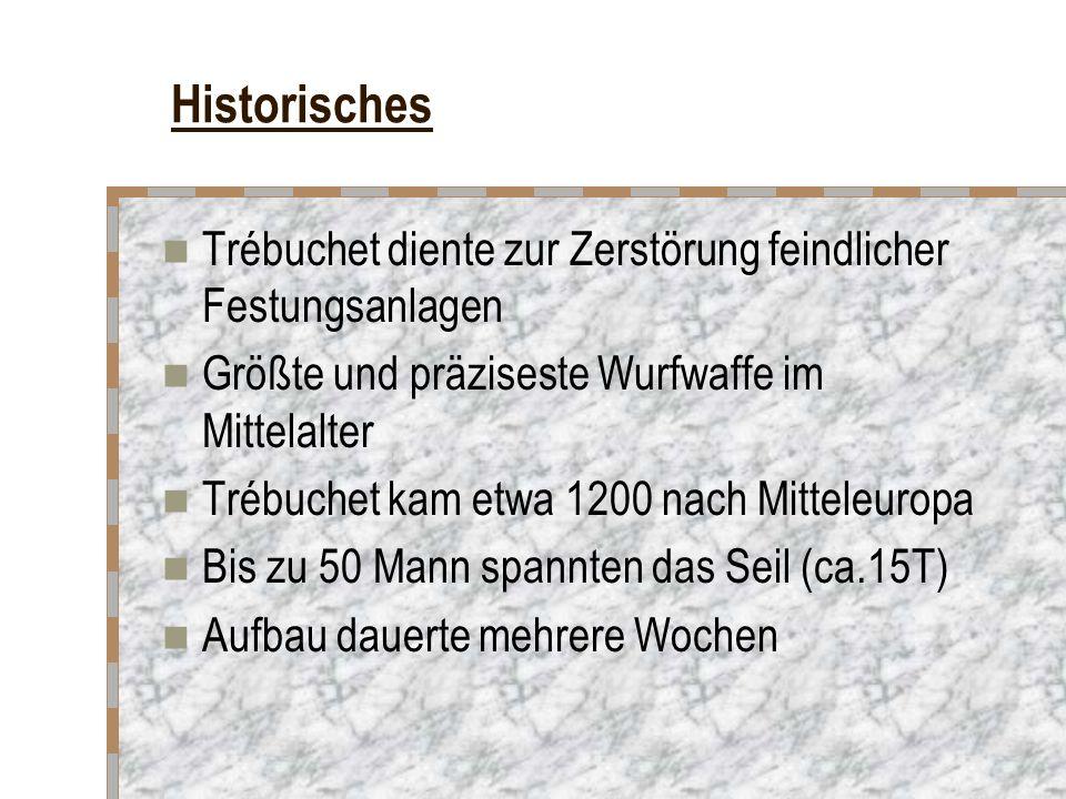 Historisches Trébuchet diente zur Zerstörung feindlicher Festungsanlagen Größte und präziseste Wurfwaffe im Mittelalter Trébuchet kam etwa 1200 nach Mitteleuropa Bis zu 50 Mann spannten das Seil (ca.15T) Aufbau dauerte mehrere Wochen