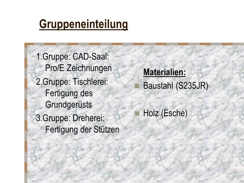 Gruppeneinteilung 1.Gruppe: CAD-Saal: Pro/E Zeichnungen 2.Gruppe: Tischlerei: Fertigung des Grundgerüsts 3.Gruppe: Dreherei: Fertigung der Stützen Materialien: Baustahl (S235JR) Holz (Esche)