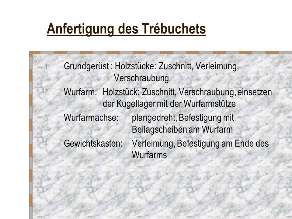 Anfertigung des Trébuchets 1. Grundgerüst : Holzstücke: Zuschnitt, Verleimung, Verschraubung 2. Wurfarm: Holzstück: Zuschnitt, Verschraubung, einsetze